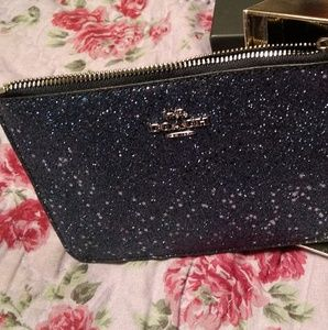 Coach Boxed Small Wristlet With Star Glitter Midni